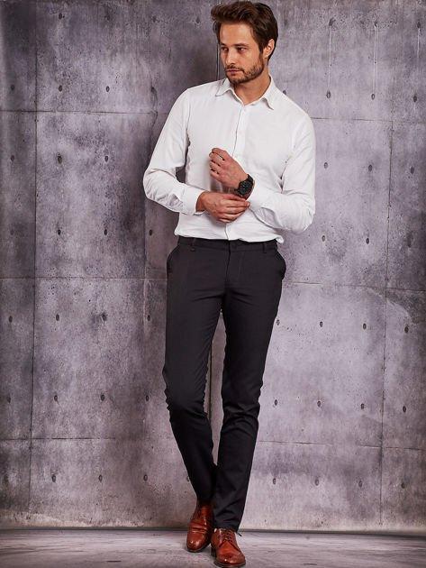 Czarne spodnie męskie w delikatny wzór                              zdj.                              4