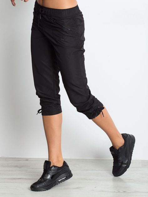 Czarne spodnie sportowe capri z wiązaniem                              zdj.                              5