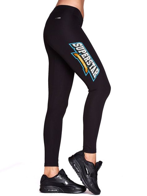 Czarne sportowe legginsy z nadrukiem SUPERSTAR                              zdj.                              1