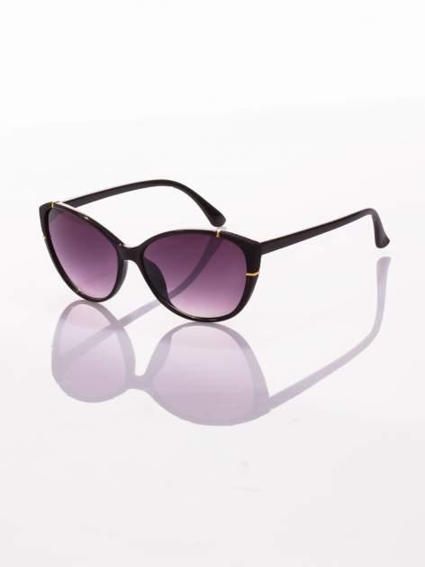 Czarne stylowe KOCIE OCZY okulary przeciwsłoneczne ze złotymi elementami                                  zdj.                                  1