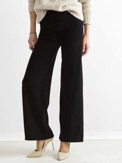 Czarne szerokie spodnie sztruksowe                              zdj.                              1