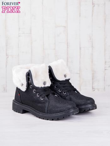 Czarne sznurowane botki eco leather Chill z futrzanym kołnierzem i srebrzystą nitką                                  zdj.                                  2