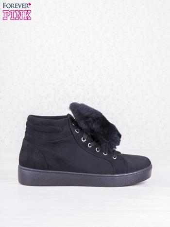Czarne sznurowane sneakersy Keris z zamszu z perłową podeszwą                                  zdj.                                  2