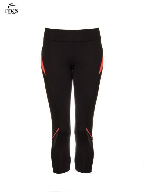 Czarne termoaktywne legginsy do biegania 3/4 z fluoróżowymi lampasami ♦ Performance RUN                                  zdj.                                  5
