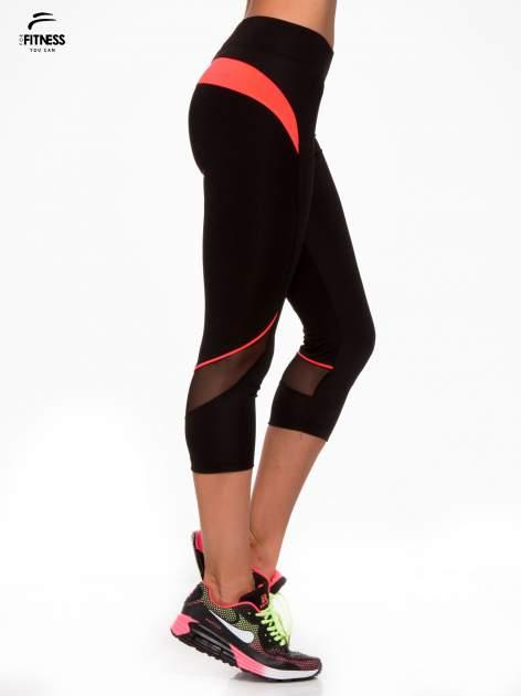 Czarne termoaktywne legginsy do biegania 3/4 z fluoróżowymi lampasami ♦ Performance RUN                                  zdj.                                  3