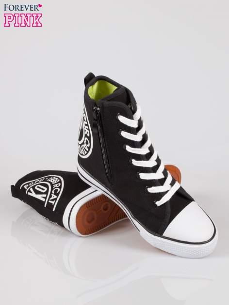 Czarne trampki na koturnie sneakersy z logo                                  zdj.                                  4