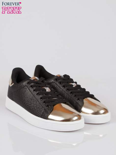 Czarne wężowe buty sportowe gold cap toe                                  zdj.                                  2