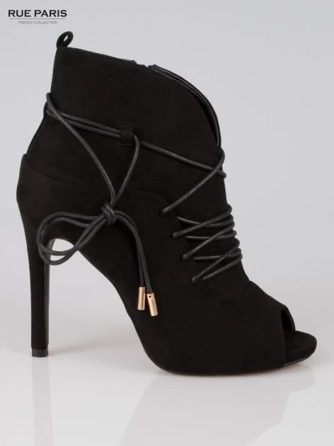 Czarne wiązane botki faux suede Elsa lace up                                  zdj.                                  1