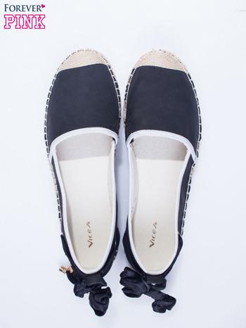 Czarne wiązane espadryle lace up                                  zdj.                                  5
