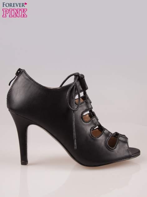 Czarne wiązane sandały typu gladiatorki Dion                                  zdj.                                  1