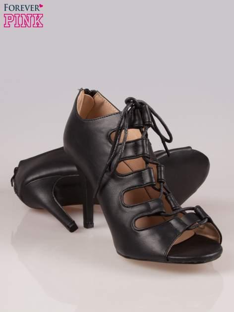 Czarne wiązane sandały typu gladiatorki Dion                                  zdj.                                  4
