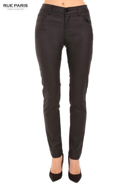 Czarne woskowane spodnie slim fit
