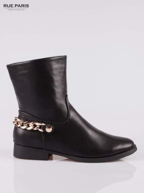 Czarne wysokie botki biker boots ze złotym łańcuchem z tyłu