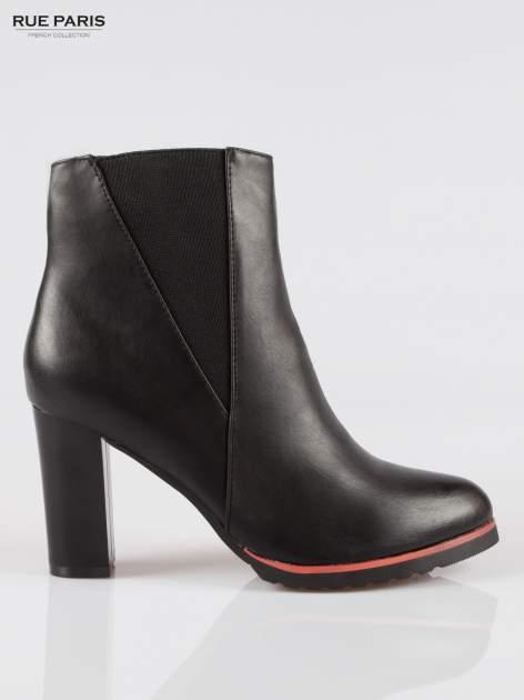 Czarne wysokie botki na słupku z gumą na cholewce