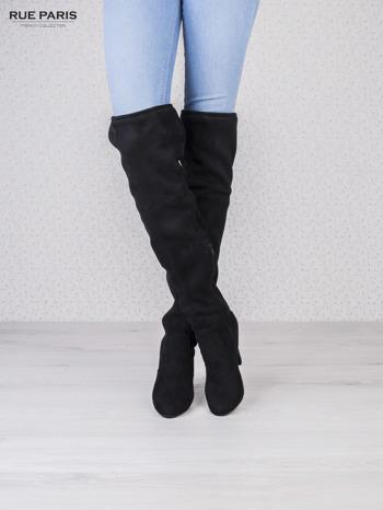 Czarne zamszowe kozaki faux suede na szpilkach wiązane w kolanach                                  zdj.                                  2