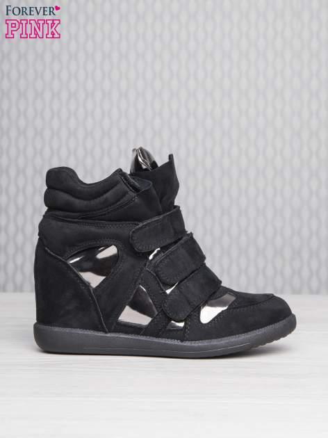 Czarne zamszowe sneakersy damskie na rzepy Verity z lustrzanymi wstawkami