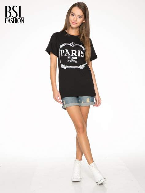 Czarnny t-shirt z nadrukiem PARIS MILANO                                  zdj.                                  5