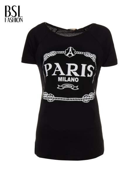 Czarnny t-shirt z nadrukiem PARIS MILANO                                  zdj.                                  2