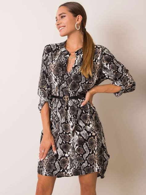 Czarno-beżowa sukienka Aliona