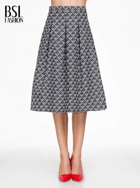 Czarno-biała spódnica midi w geometryczny wzór I                                  zdj.                                  1