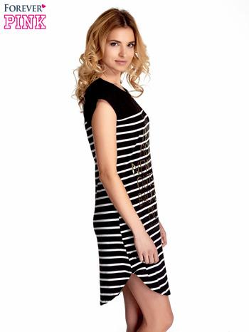 Czarno-biała sukienka w paski z napisem w stylu city                                  zdj.                                  3