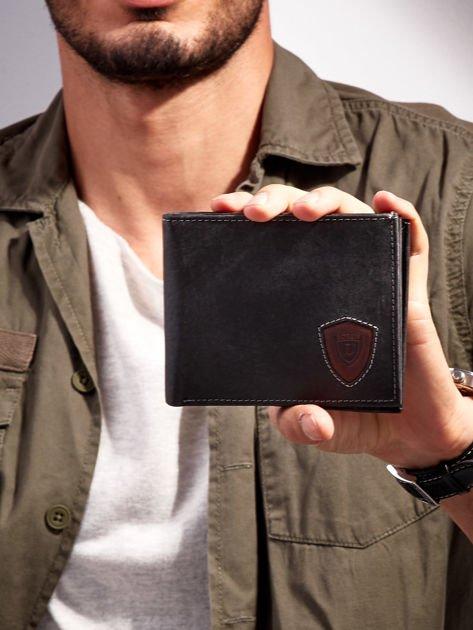 Czarno-brązowy portfel męski ze skóry naturalnej                              zdj.                              1
