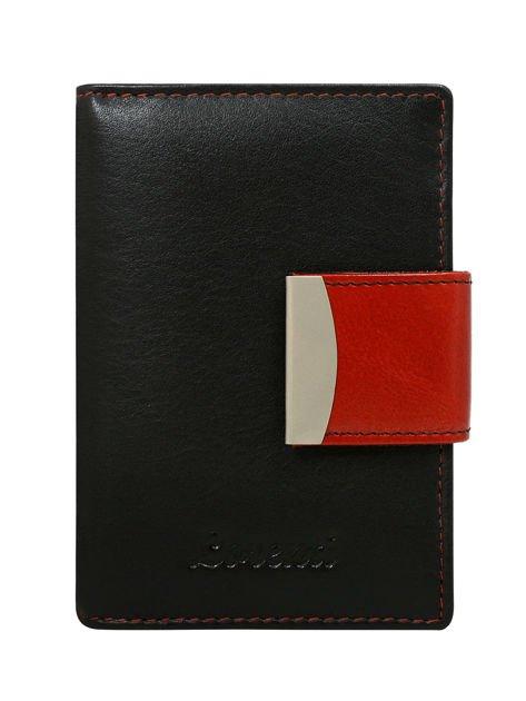 Czarno-czerwony portfel damski ze skóry z tłoczonym napisem