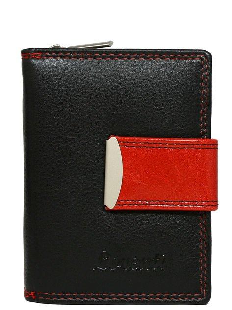 Czarno-czerwony portfel skórzany z suwakiem i zatrzaskiem