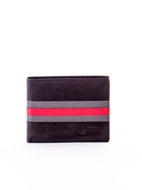Czarno-czerwony portfel ze skóry naturalnej