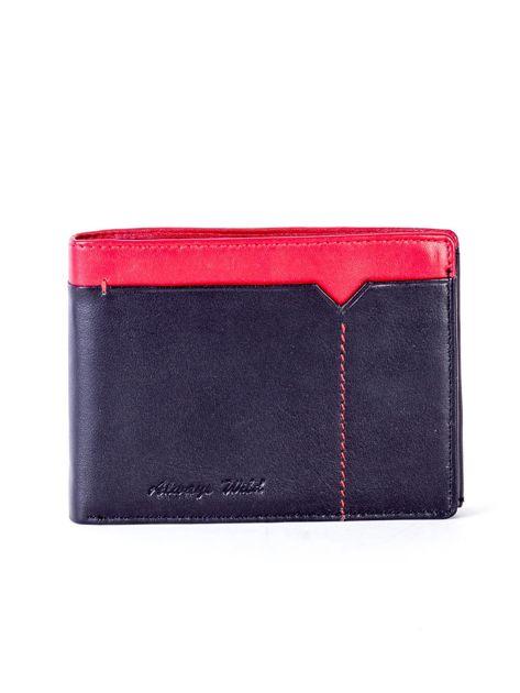 Czarno-czerwony skórzany portfel męski                              zdj.                              1