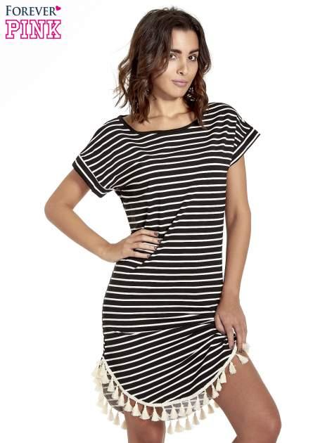 Czarno-ecru sukienka w paski z chwostami                                  zdj.                                  1