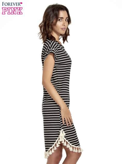 Czarno-ecru sukienka w paski z chwostami                                  zdj.                                  3
