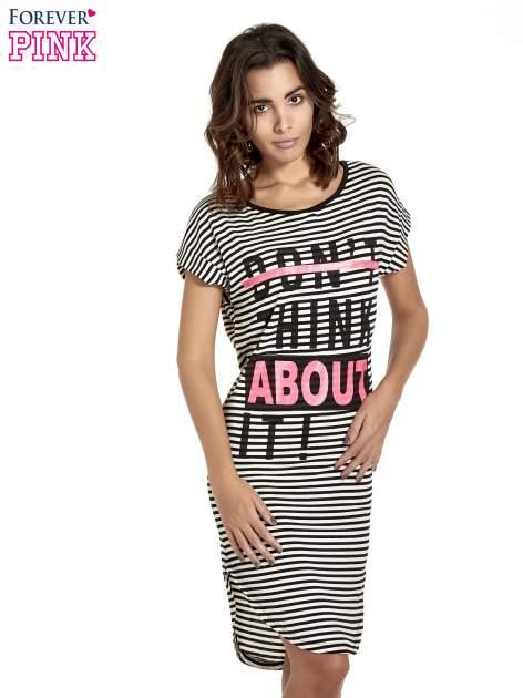 Czarno-ecru sukienka w paski z napisem I DON'T THINK ABOUT IT!                                  zdj.                                  1