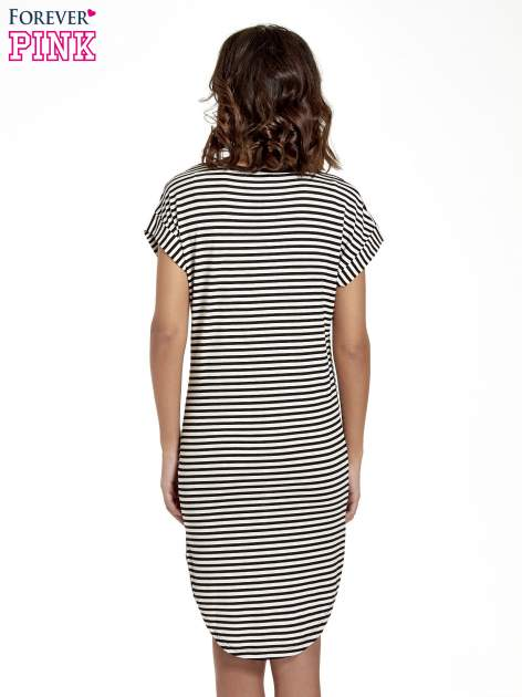 Czarno-ecru sukienka w paski z napisem I DON'T THINK ABOUT IT!                                  zdj.                                  4