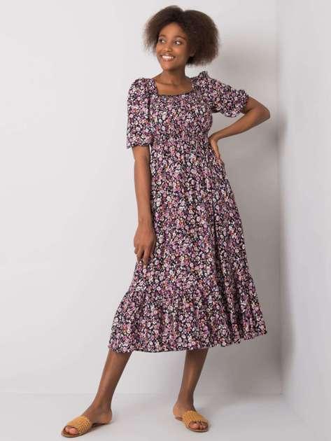 Czarno-fioletowa sukienka w kwiaty Danae RUE PARIS