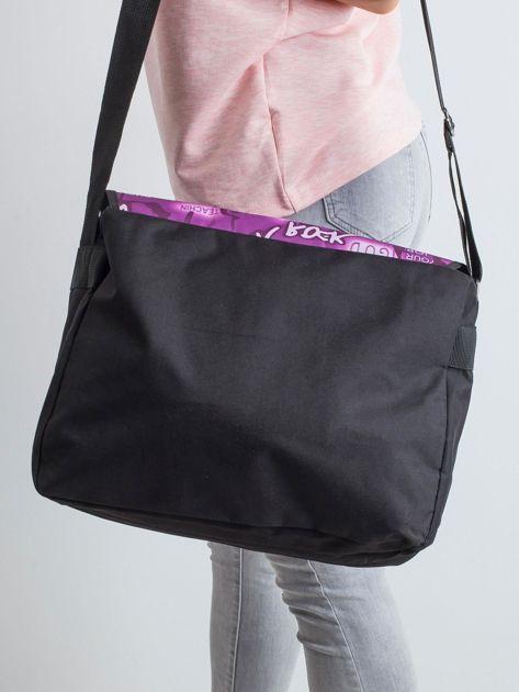 Czarno-fioletowa torba na ramię                              zdj.                              2