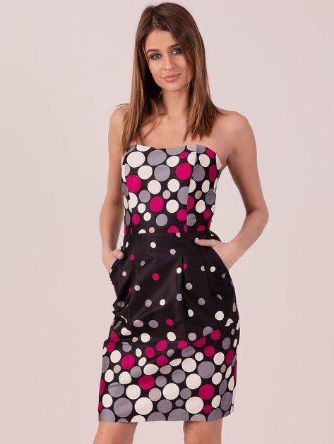 Czarno-fuksjowa sukienka koktajlowa w kolorowe grochy                              zdj.                              1