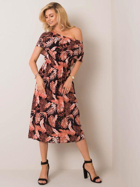 Czarno-łososiowa sukienka Bella