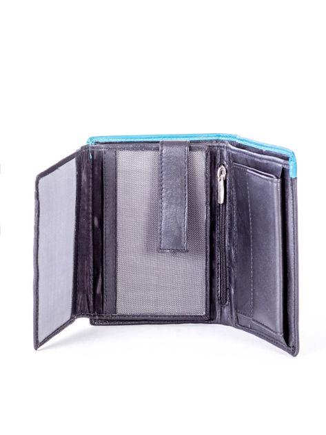 Czarno-niebieski portfel męski ze skóry                              zdj.                              5