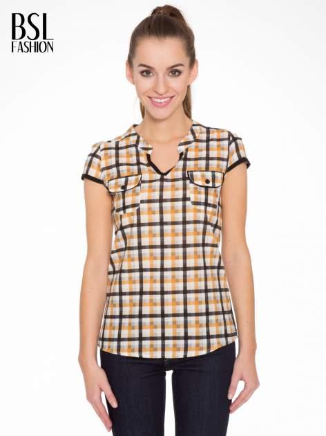 Czarno-pomarańczowa koszula w kratę z krótkim rękawem                                  zdj.                                  1