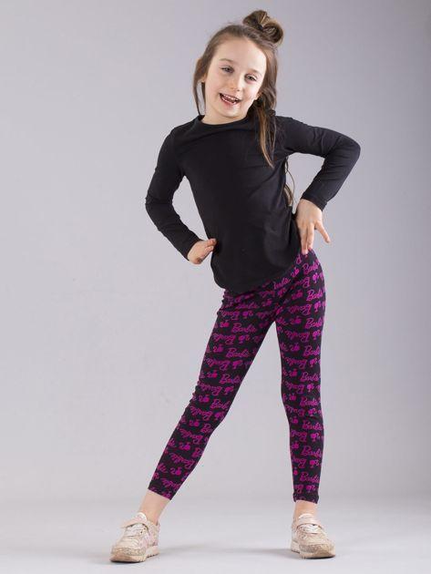 Czarno-różowe legginsy dziewczęce z nadrukiem BARBIE                              zdj.                              4