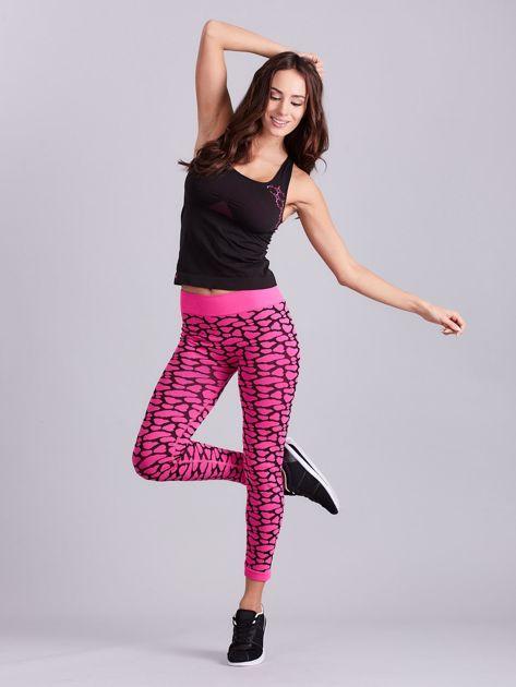Czarno-różowy komplet fitness top i legginsy                              zdj.                              11
