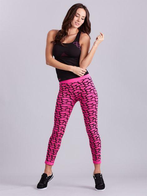 Czarno-różowy komplet fitness top i legginsy                              zdj.                              14