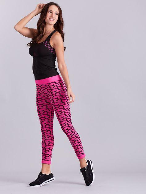 Czarno-różowy komplet fitness top i legginsy                              zdj.                              8