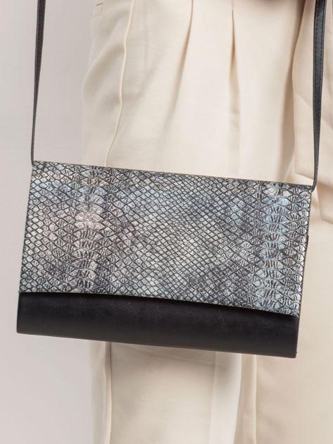 Czarno-srebrna kopertówka snake skin