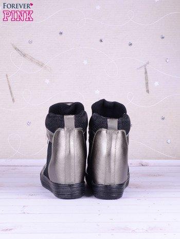 Czarno-srebrne sneakersy Agnes z suwakiem z boku, lakierowanymi wstawkami i materiełem z efektem glitter                               zdj.                              5