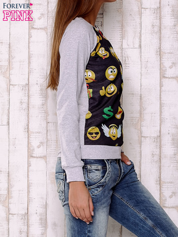 Czarno-szara bluza z nadrukiem emotikonów                                  zdj.                                  3