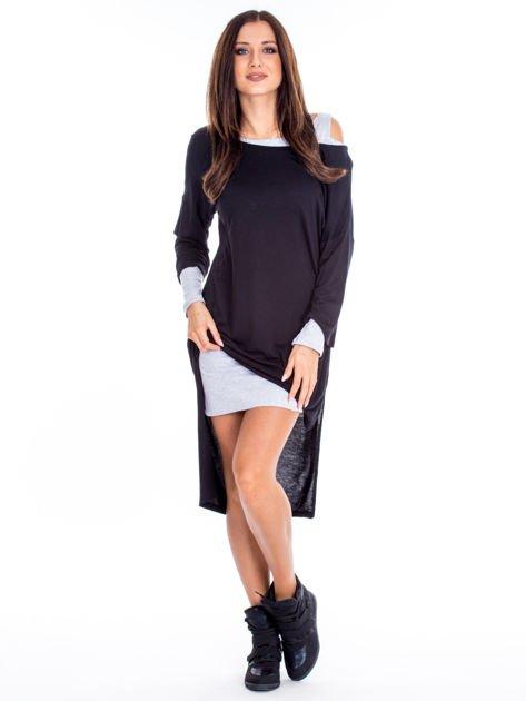 Czarno-szara warstwowa sukienka                              zdj.                              1