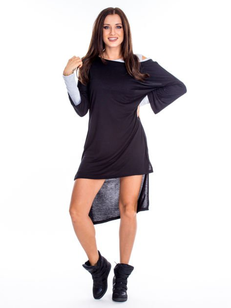 Czarno-szara warstwowa sukienka                              zdj.                              4