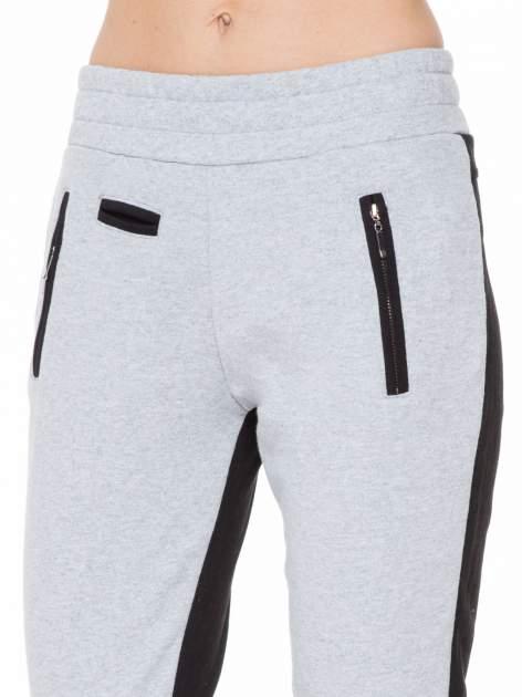 Czarno-szare spodnie dresowe two tone z kieszeniami                                  zdj.                                  7